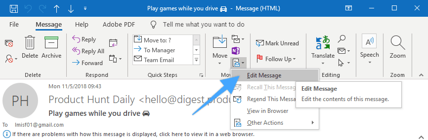 Editing Gmail Message in Outlook